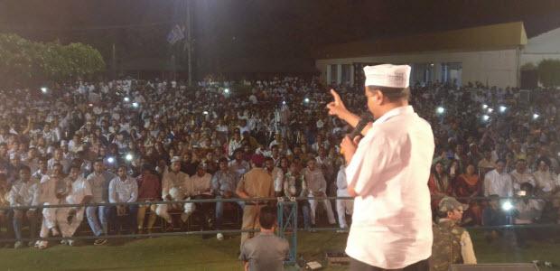 Kejriwal addressed the volunteers meeting in punjabi bagh